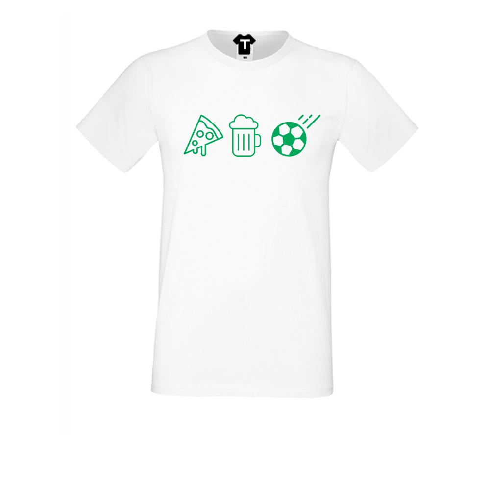 pánská trička Bílá Pizza, Beer and Football D-M-026