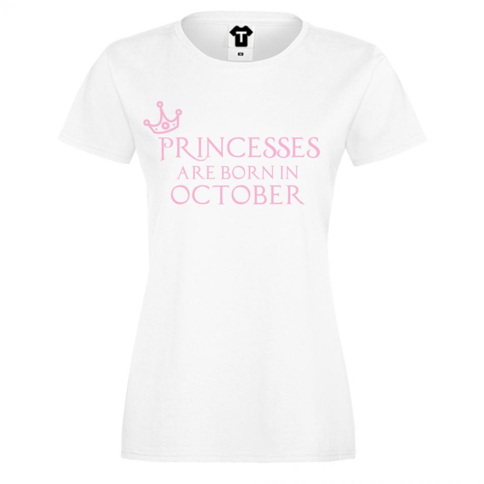 Dámské tričko Bílé Princesses Are Born In Octomber D-W-208-10
