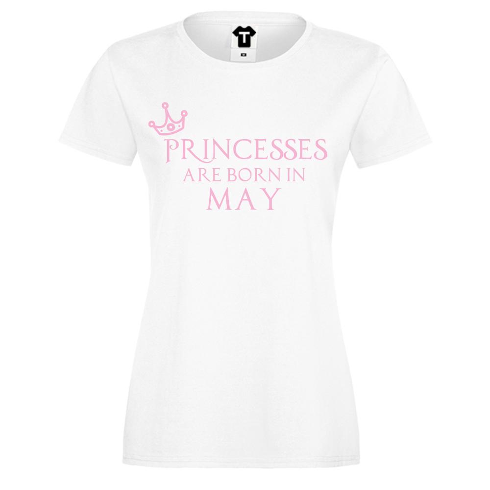 Dámské tričko Bílé Princesses Are Born In May D-W-208-5