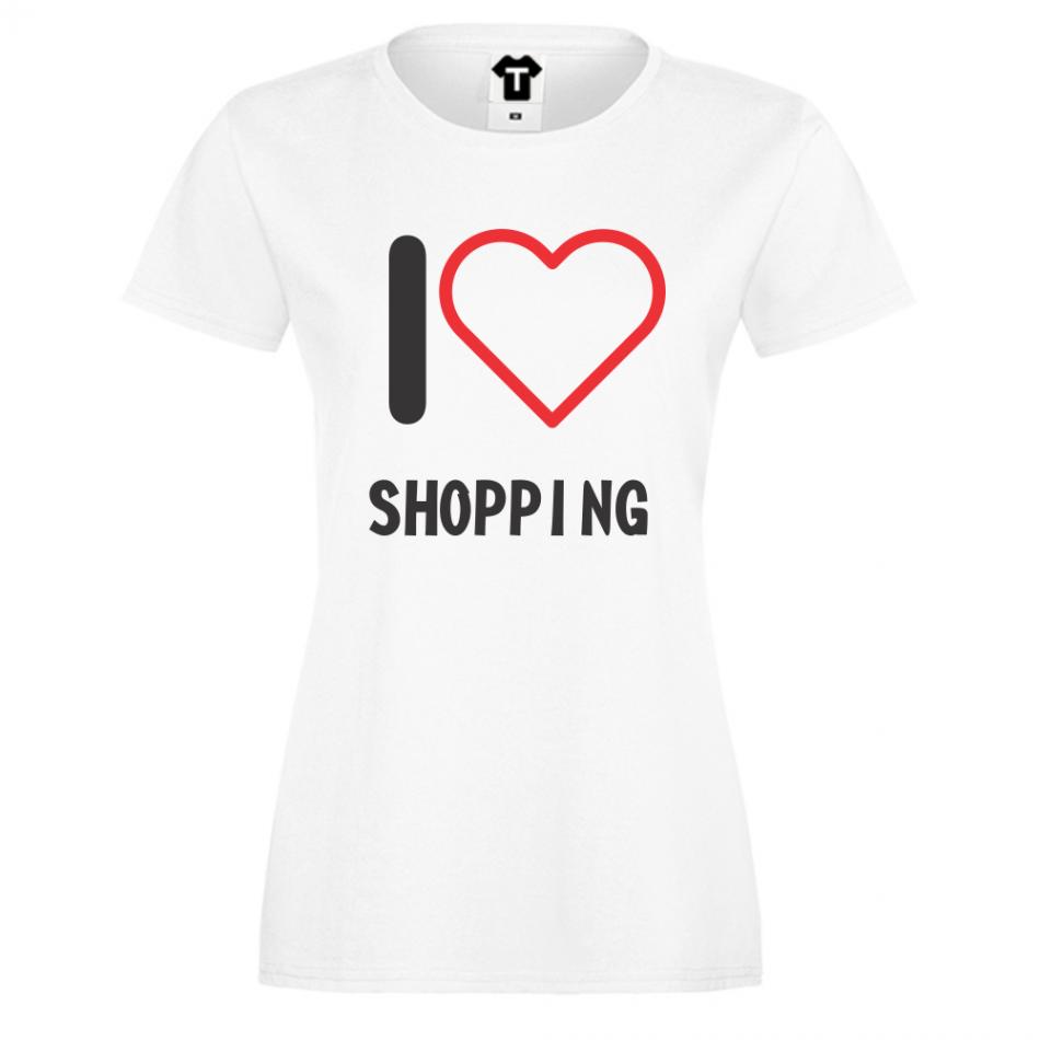 Dámské tričko Černá I Love Shopping D-W-027