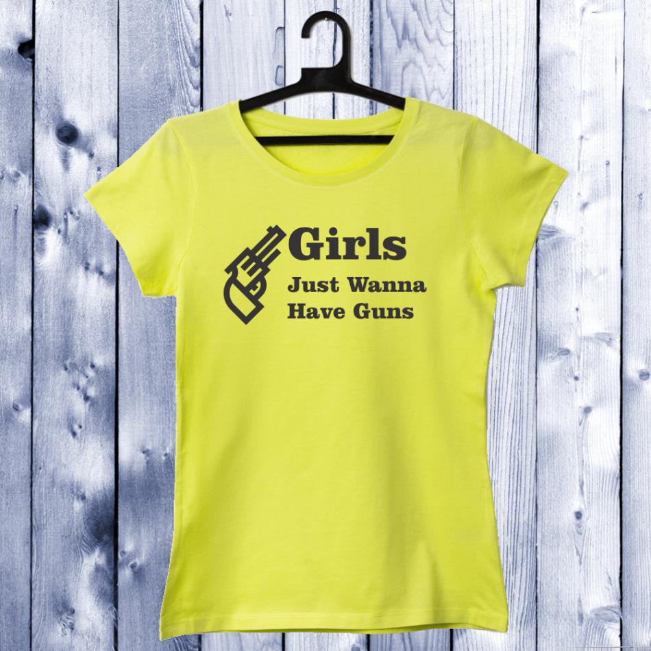 Dámské tričko Žlutá Girls Guns D-W-042-1