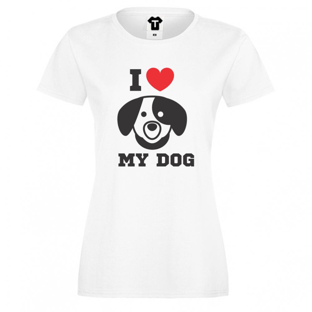 Dámské tričko Bílá I LOVE MY DOG D-W-008