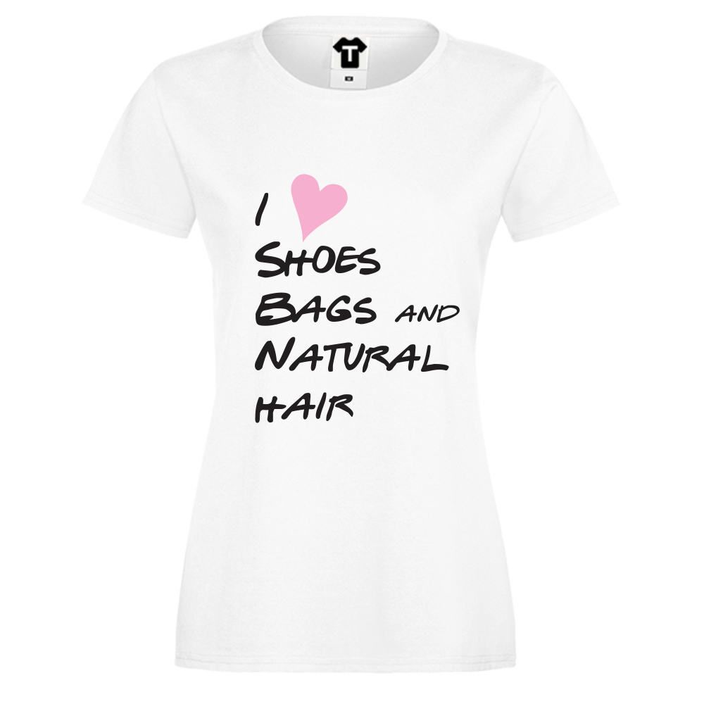 Dámské tričko Bílá I Love shoes, bags… D-W-030