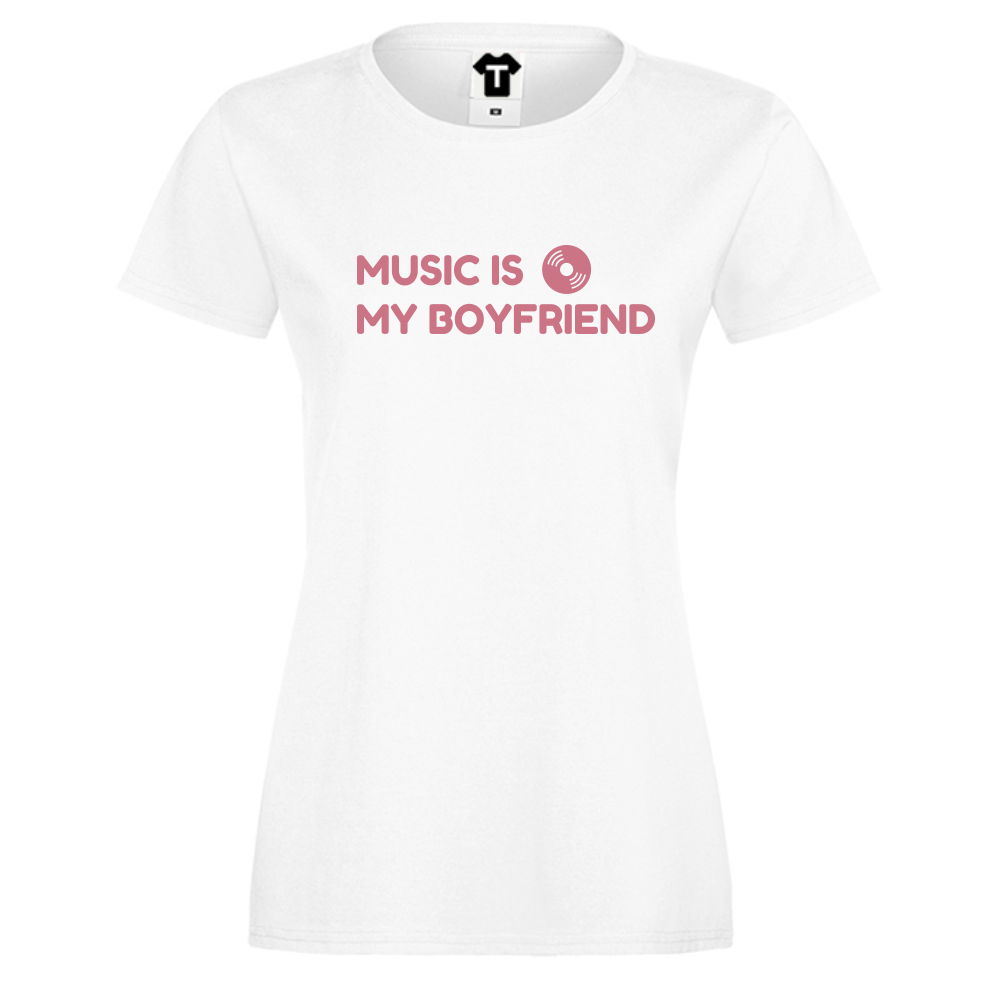 Dámské tričko Bílá Music Is My Boyfriend D-W-031