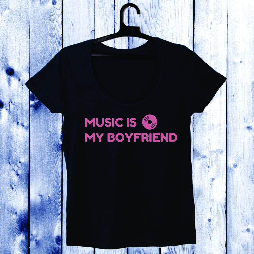 Dámské tričko cu decolteu rotund Bíláastru inchis Music Is My Boyfriend D-W-031-3