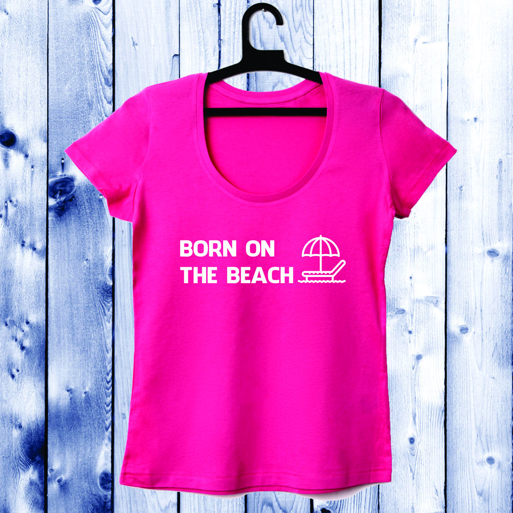 Dámské tričko cu decolteu rotund ciclam Born on the beach 1 D-W-038-2