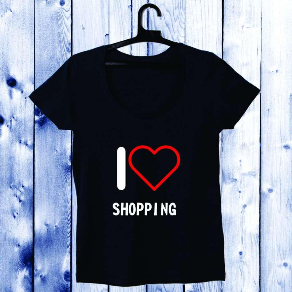 Dámské tričko I Love Shopping D-W-027-3