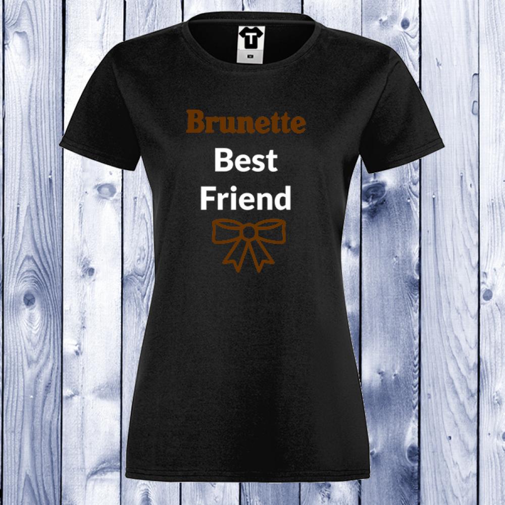 Damské tričko Černá BRUNETTE BEST FRIEND D-W-003B