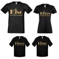 Rodinný set triček v bílé nebo černé barvě King, Queen, Prince and Princess of the castle