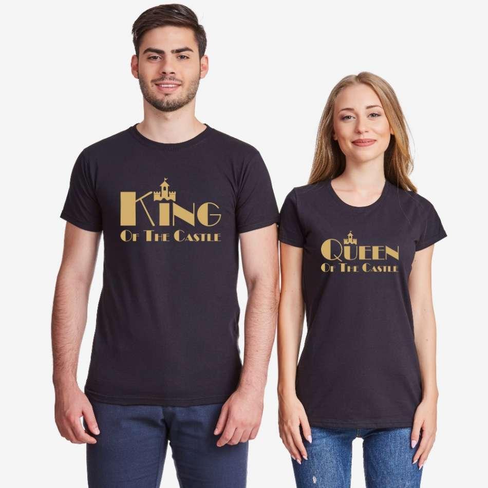 Trička pro páry v bílé nebo černé barvě King and Queen of the castle