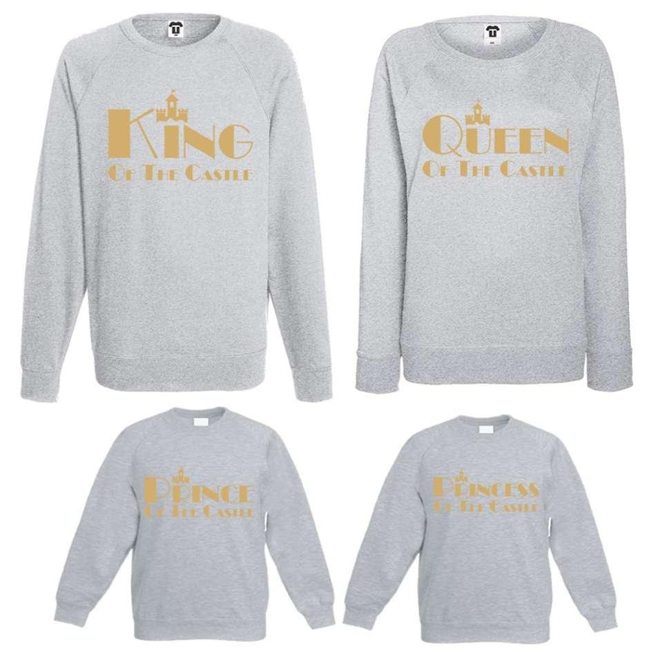 Set trička s dlouhým rukávem maminka, tatinek a děťátko King, Queen, Prince and Princess of the castle