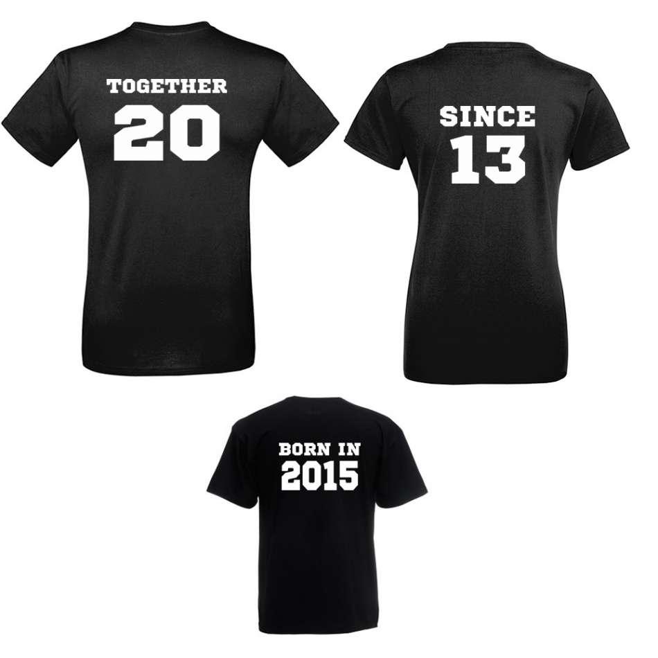 Rodinný set triček v bílé nebo černé barvě Together Since and Born in
