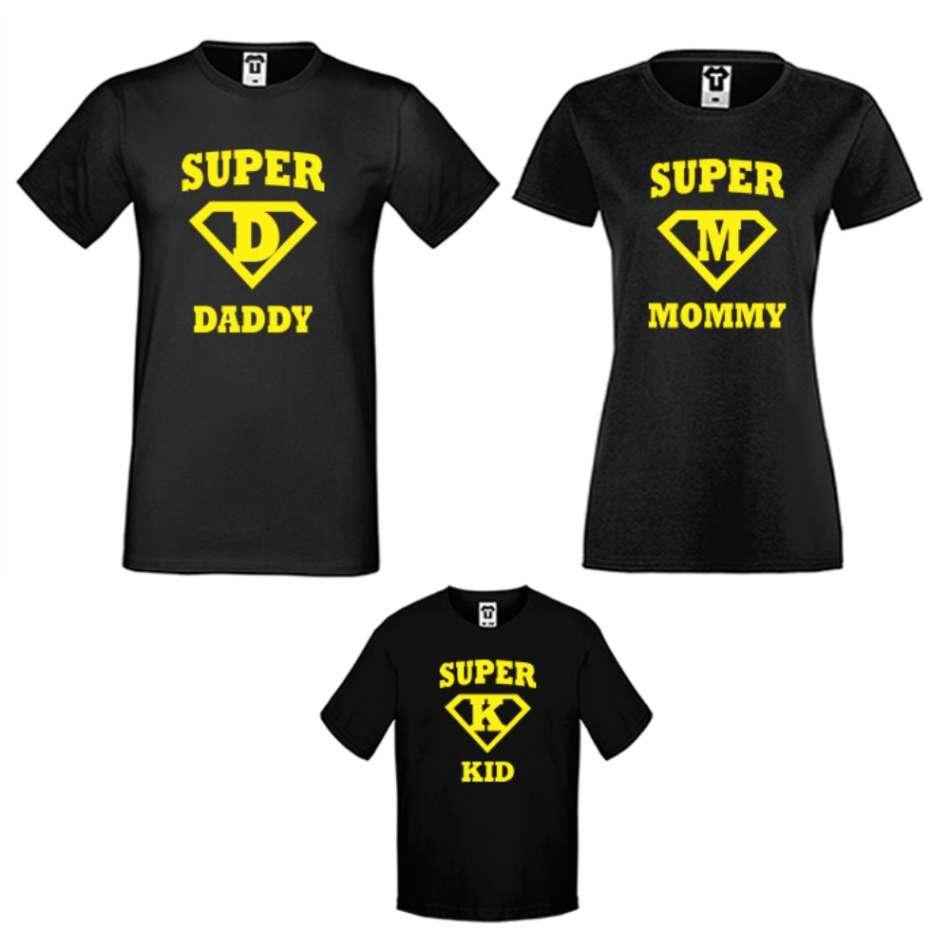 Rodinný set triček v bílé nebo černé barvě Super Daddy, Mommy and Kid