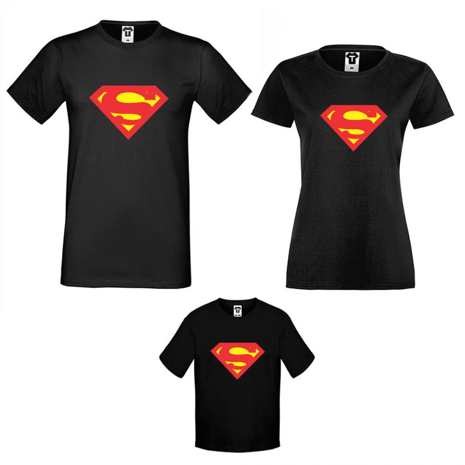 Rodinný set triček v černé barvě Super Family