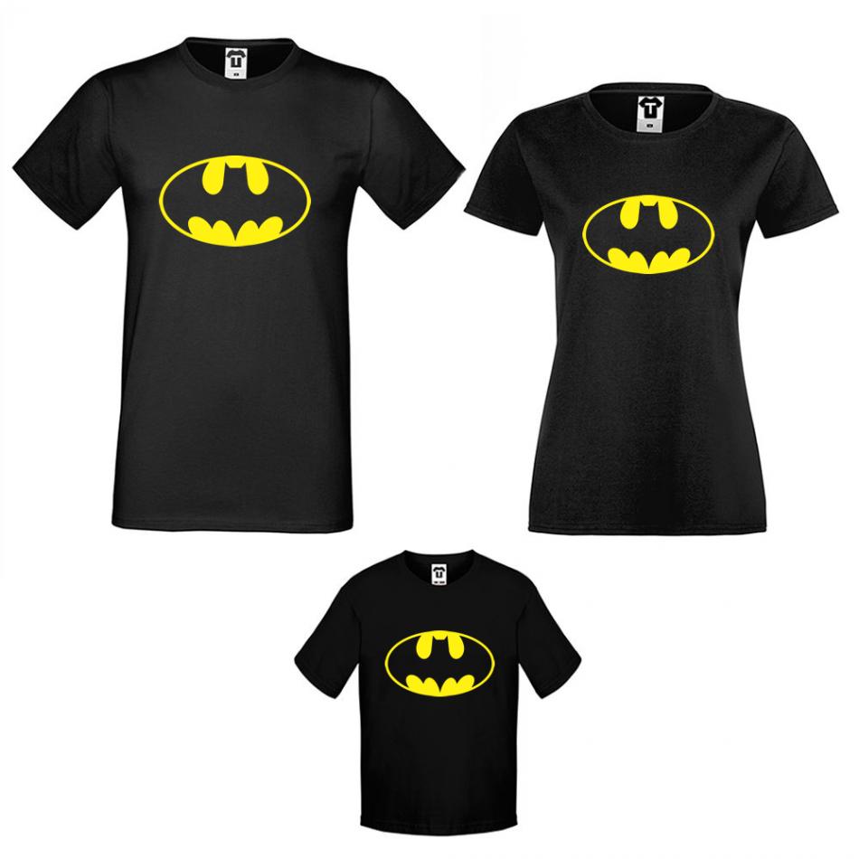 Rodinný set triček v černé barvě Batman Family