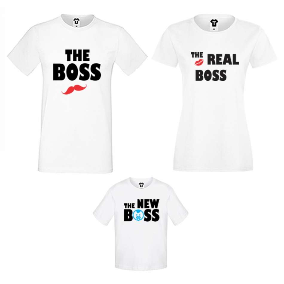 Rodinný set triček v bílé nebo černé barvě The Boss, The Real Boss and The New Boss Boy