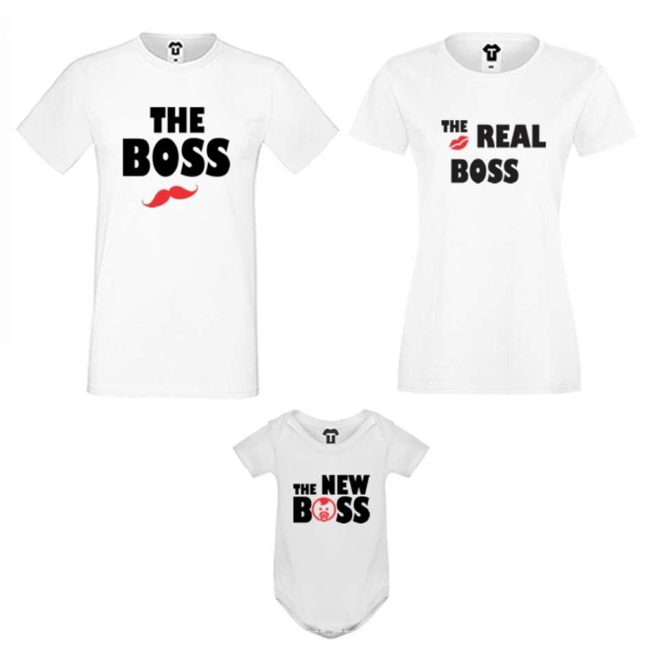Set v černé nebo bílé barvě The Boss, The Real Boss and The New Boss Girl