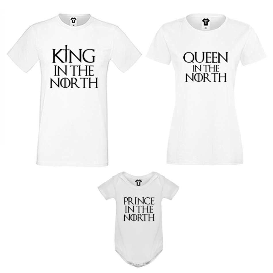 Rodinný set v bílé nebo černé barvě King, Queen and Prince of The North
