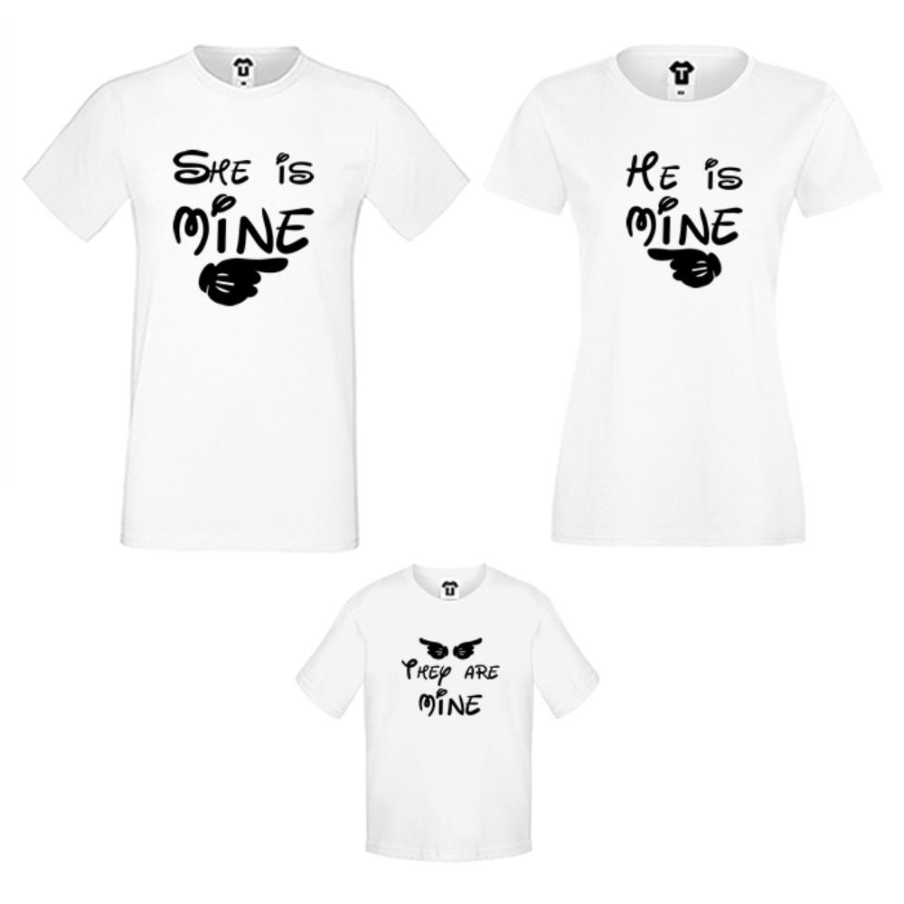 Rodinný set triček v bílé nebo černé barvě They are Mine