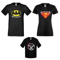 Rodinný set triček v bílé nebo černé barvě Heroes Family