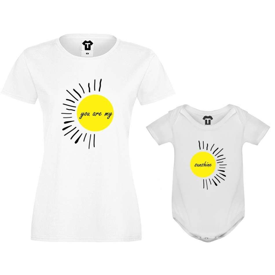 Dámské tričko a kojenecké body You are my sunshine