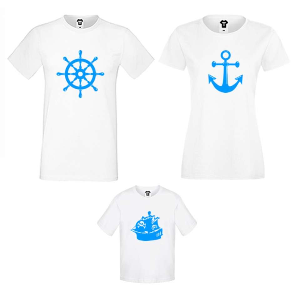 Rodinná trička v různých barvách Anchor, Rudder and Ship