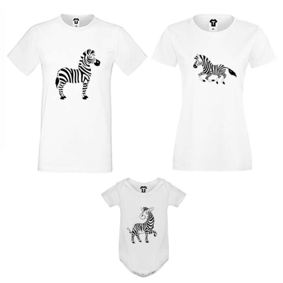 Rodinný set v bílé nebo černé barvě Zebra Family