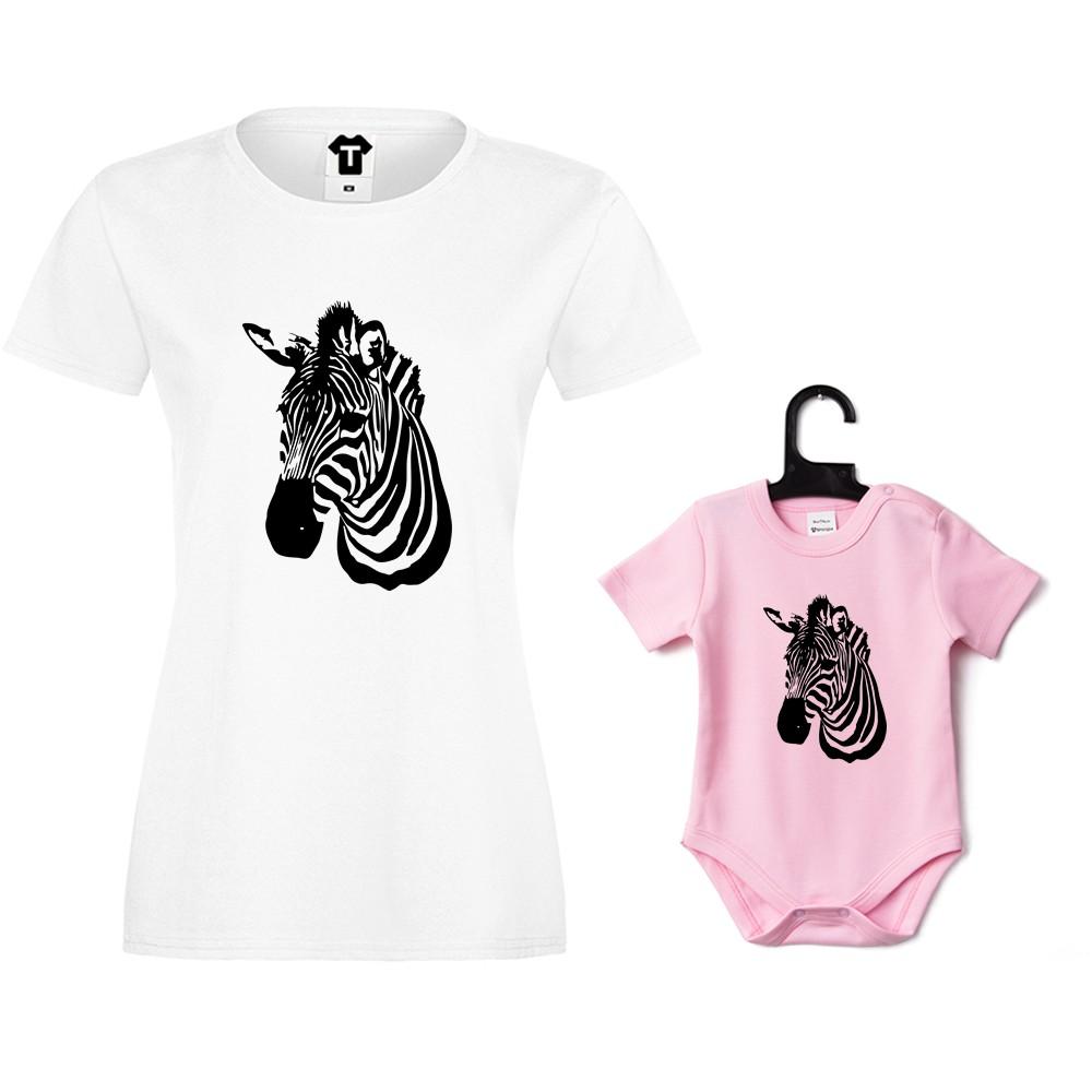 Dámské tričko a kojenecké body Zebra