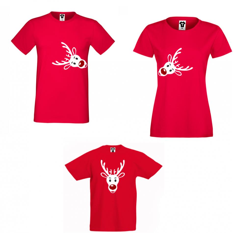 Rodinný set triček v červené barvě Rudolph