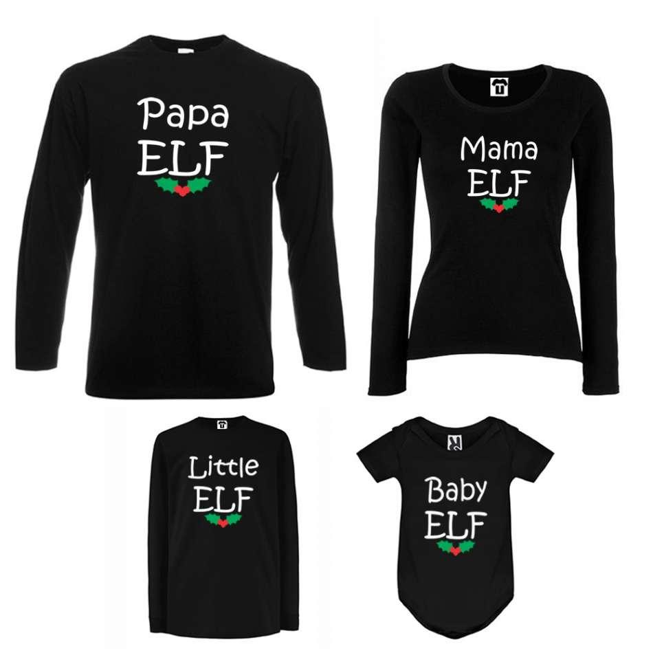 Rodinný set v bílé nebo černé barvě Papa, Mama, Little and Baby Elf