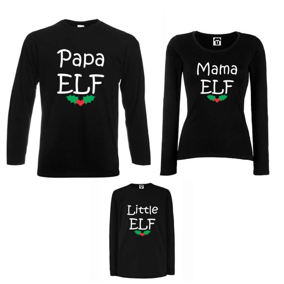 Rodinný set v bílé nebo černé barvě Papa, Mama and Little Elf