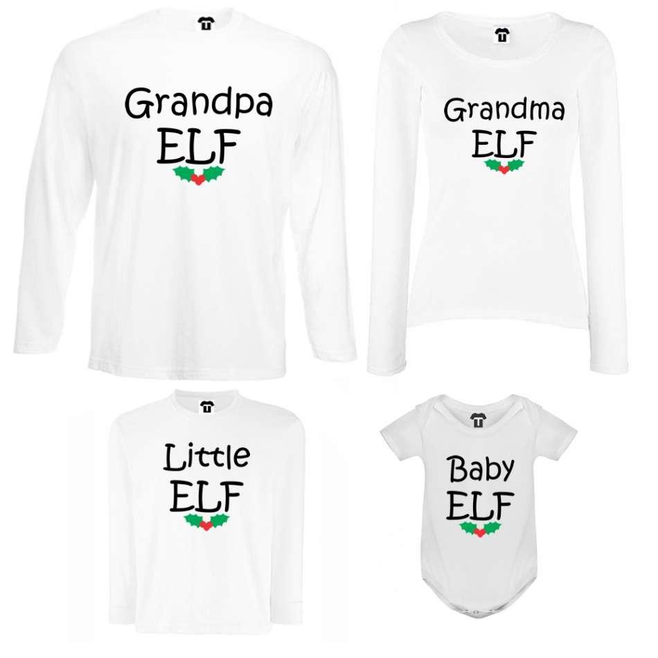 Rodinný set v bílé nebo černé barvě Grandpa, Grandma, Little and Baby Elf