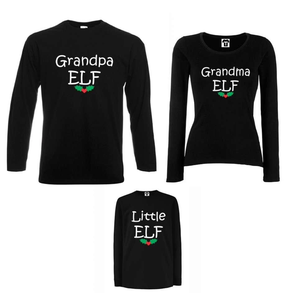 Rodinný set v bílé nebo černé barvě Grandpa, Grandma and Little Elf