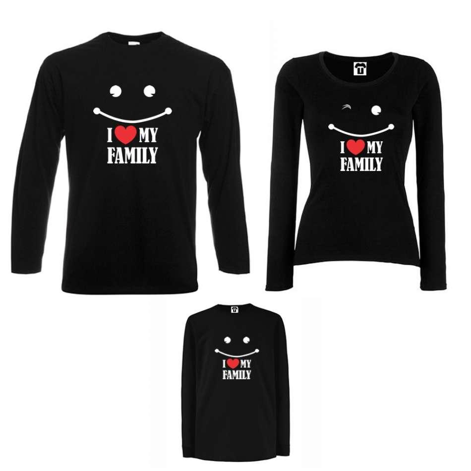 Rodinný set v bílé nebo černé barvě I love my family
