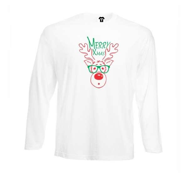 Bílé nebo černé pánské tričko s dlouhým rukávem Merry Christmas