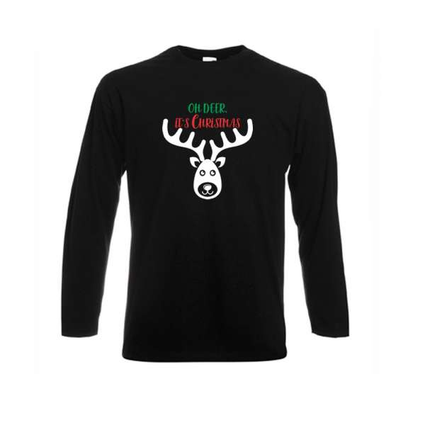 442f3117ee9 Bílé nebo černé pánské tričko s dlouhým rukávem Oh Deer it s Christmas