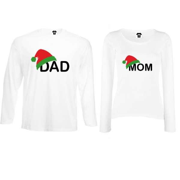 Bílá nebo černá trička pro páry s dlouhým rukávem Family Christmas Hats