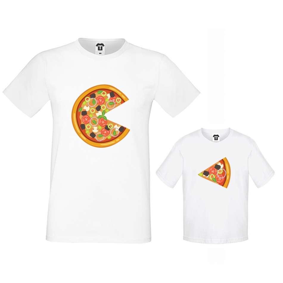 Bílá trička otec a dítě Pizza Slices