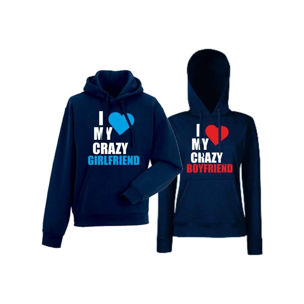 Mikiny pro páry I Love My Crazy Tmavě modré  HD-CP-006N