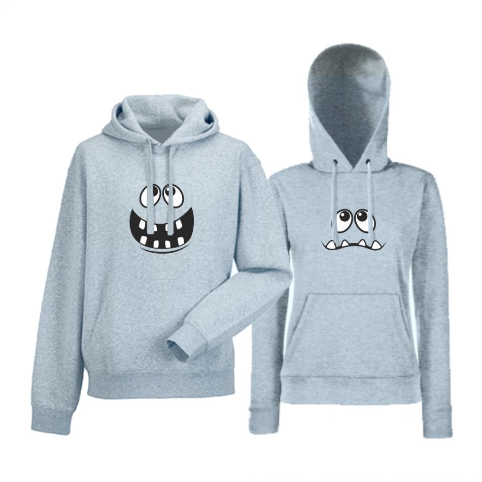 Set šedé mikiny pro páry Big Smile HD-CP-012G