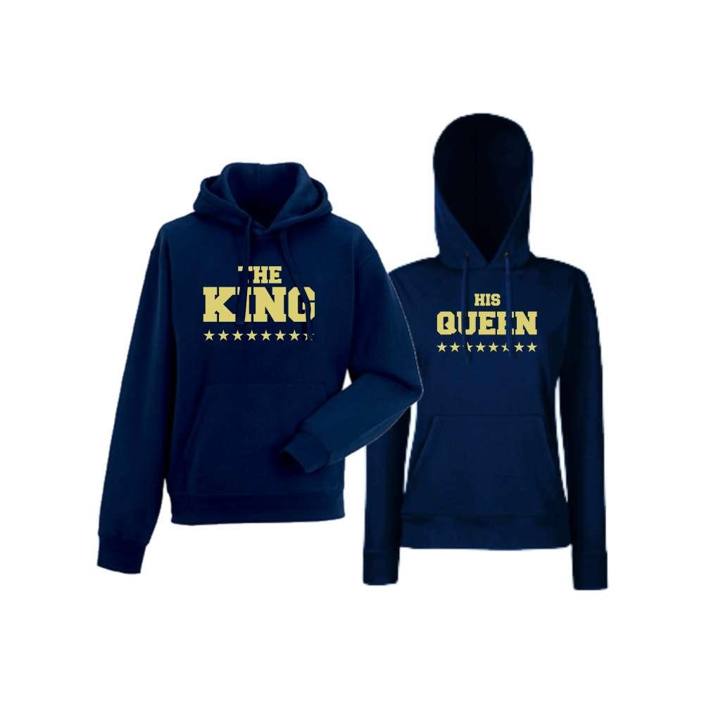 Mikiny pro páry The King His Queen Tmavě modré  HD-CP-102N