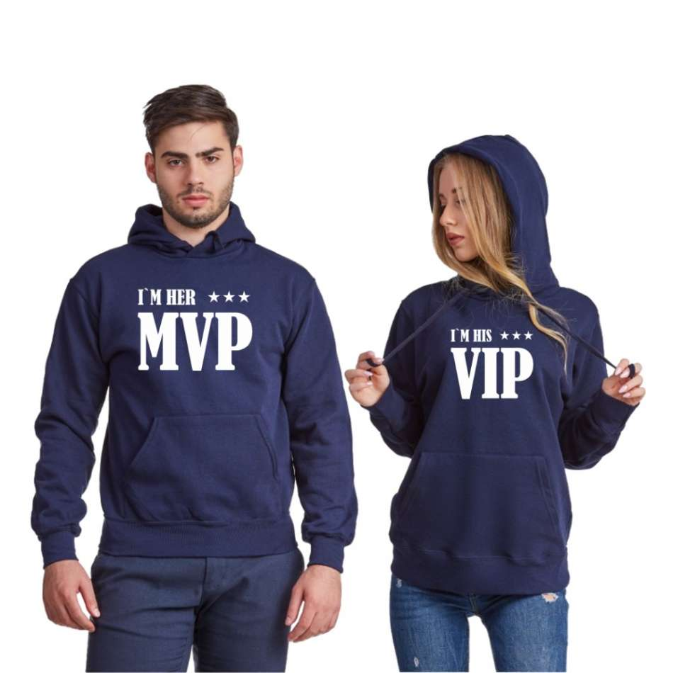 Tmavomodré mikiny pro páry Her MVP and His VIP
