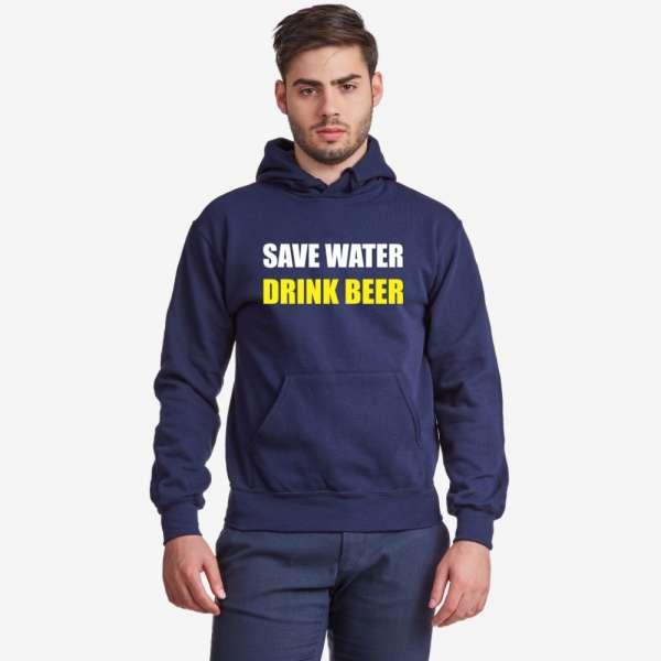 Tmavě modrá pánská mikina Save Water Drink Beer