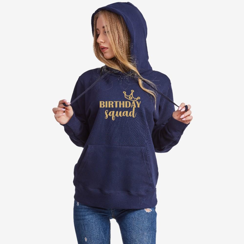 Dámská tmavě modrá mikina s kapucí Birthday Squad