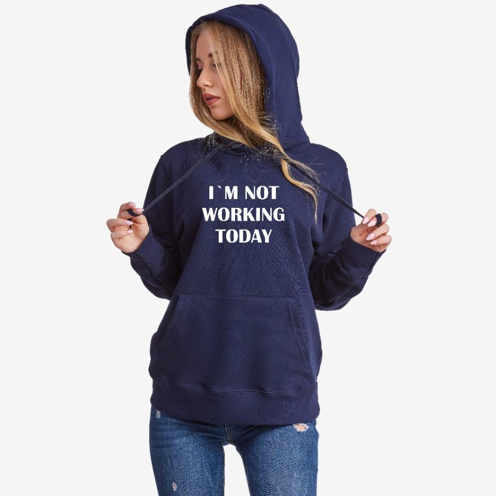 Dámská tmavě modrá mikina s kapucí Not Working Today