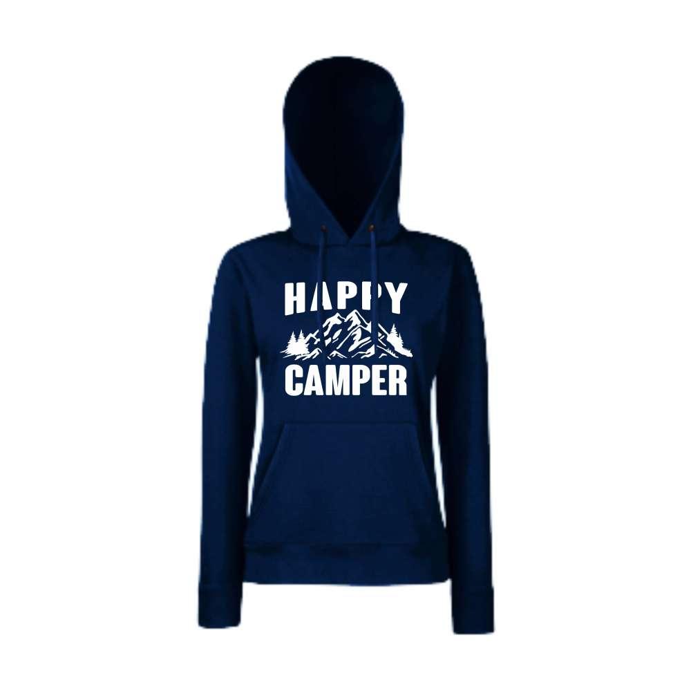 Damska mikina s kapucí Happy Camper Tmavě modré  HD-W-146N