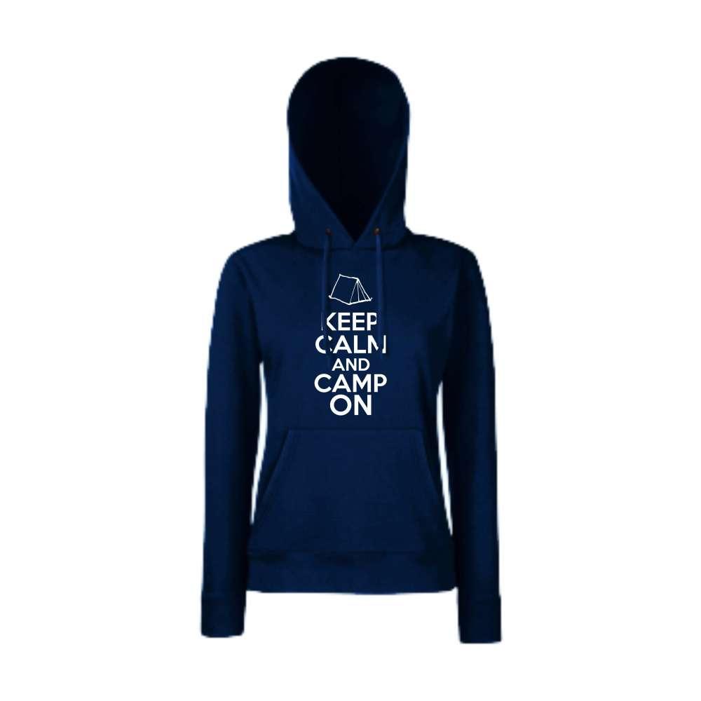 Damska mikina s kapucí Keep Calm and Camp On Tmavě modré  HD-W-148N