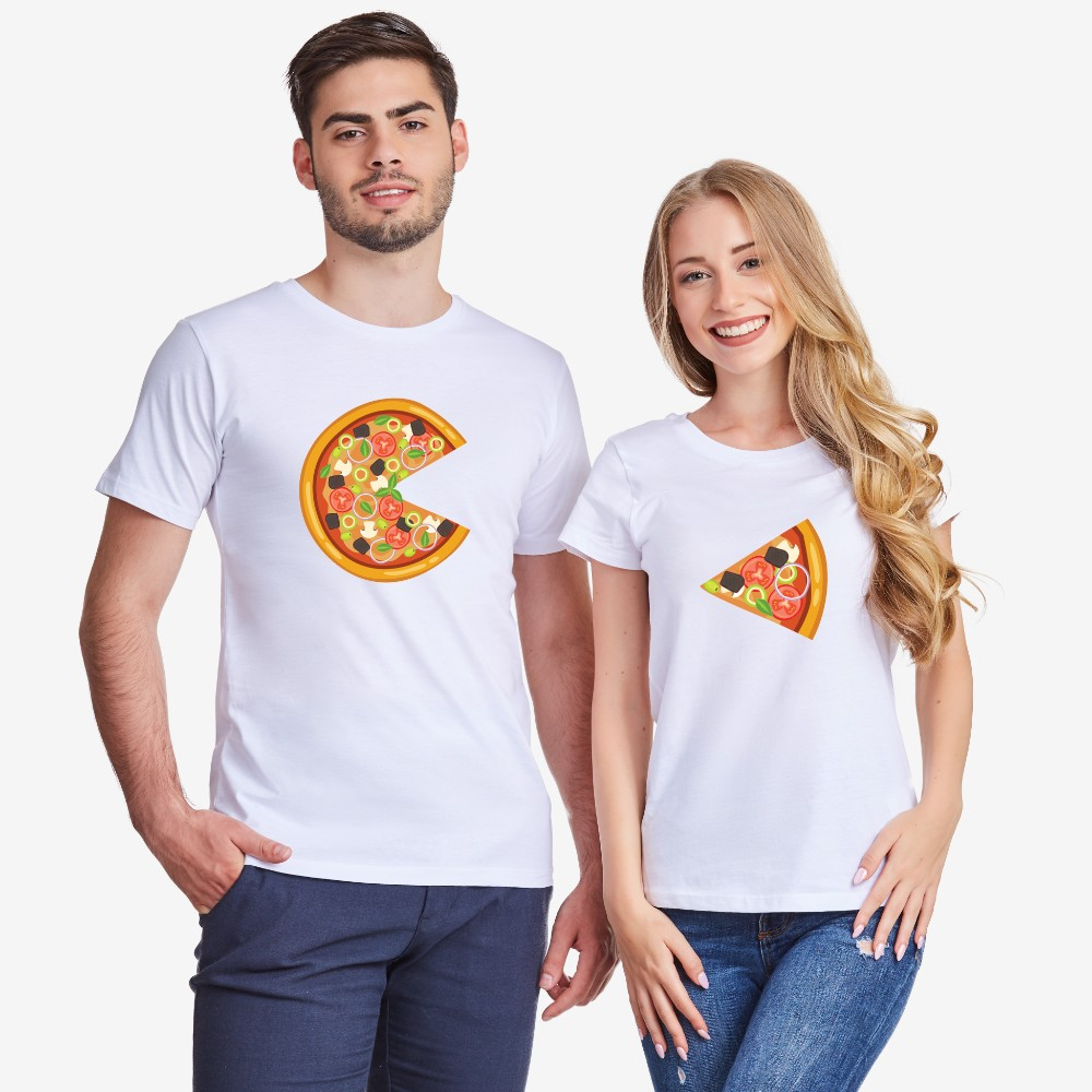 Bílá trička pro páry Pizza Slices