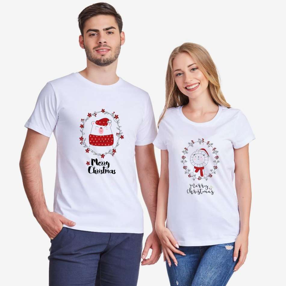 Bílá trička pro páry Merry Christmas Couple