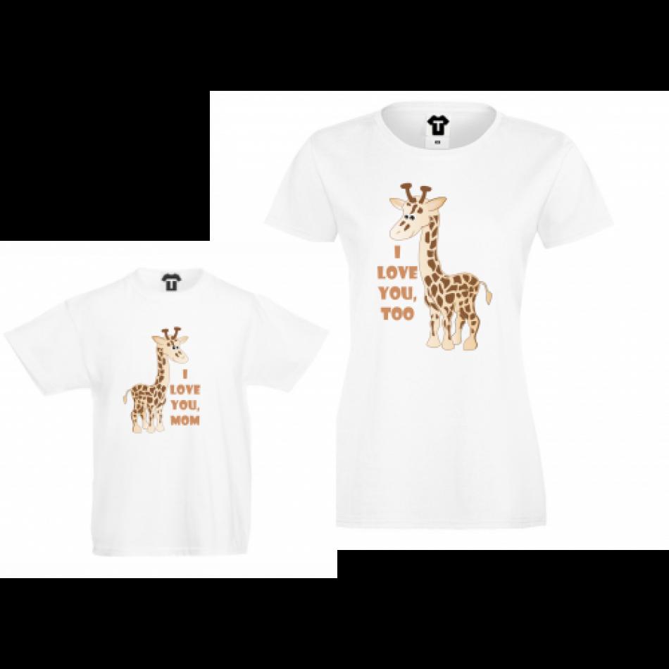 Trička pro holčičku a maminku - žirafy P-CP-016